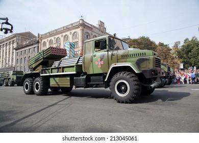 Kiev, Ukraine - 24 aug 2014. Military parade for the Ukrainian Independence Day