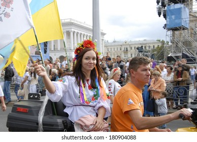 KIEV, UKRAINE - 24 AUGUST 2013 - Independence day. Commemoration of the Independence Day (August 24, 1991). People dressed in typical Ukraine dress