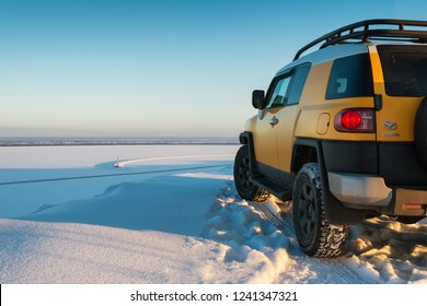 Kiev, Ukraine - 24 January, 2014, Toyota FJ Cruiser in the countryside in winter