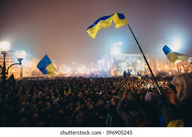 Kiev, Ukraine - 24 November, 2013: Meeting on the Independence square in Kiev. About 100 thousand ukrainian people gathered on the Independence square to support the integration of Ukraine into the EU