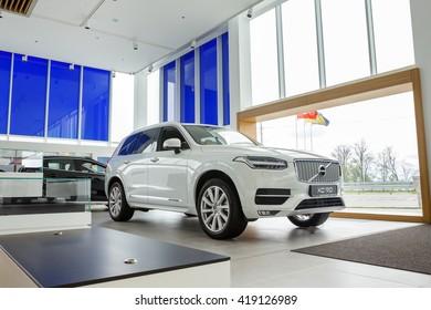 KIEV, UKRAINE - 27 APRIL : Presentation first official showroom Volvo in Ukraine. New model Volvo XC 90 in showroom. 27 April 2016, Kiev, Ukraine.