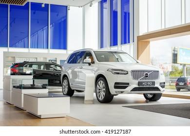 KIEV, UKRAINE - 27 APRIL : Presentation first official showroom Volvo in Ukraine. New model Volvo XC90 in showroom. 27 April 2016, Kiev, Ukraine.