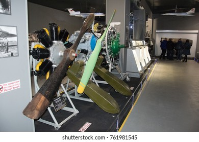 Kiev, Ukraine - 29, October, 2017: airplane engine from the inside to the air museum