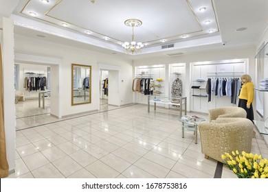 KIEV, UKRAINE - 7JANUARY 2020: Modern and luxury fashion store interior.