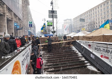 KIEV, UKRAINE - 9 DECEMBER: Protest on Euromaydan in Kiev against the president Yanukovych didn't sign the contract between the European Union and Ukraine on 9 December, 2013 in Kiev, Maidan, Ukraine.