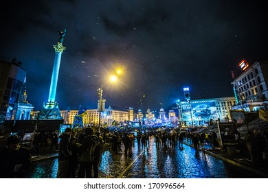 KIEV, UKRAINE - 9 DECEMBER: Protest on Euromaydan in Kiev against the president Yanukovych didn't sign the contract between the European Union and Ukraine on 9 December, 2013 in Kiev, Maidan, Ukraine