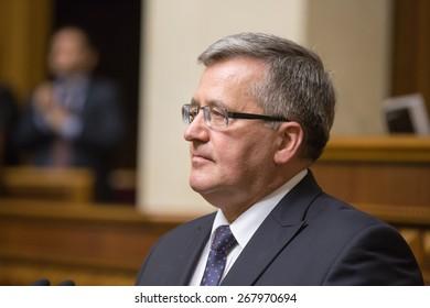 KIEV, UKRAINE - Apr. 09, 2015: Polish President Bronislaw Komorowski during a parliamentary session in the building of the Verkhovna Rada of Ukraine in Kiev