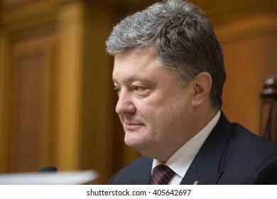 KIEV, UKRAINE - Apr 14, 2016: President of Ukraine Petro Poroshenko during the session of the Verkhovna Rada of Ukraine in Kiev