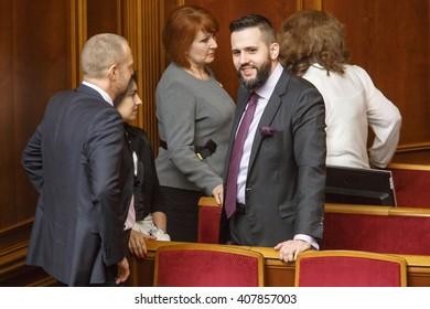 KIEV, UKRAINE - APR 14, 2016: Vote for new Cabinet of Ministers of Ukraine in the Ukrainian Parliament. Max Nefyodov