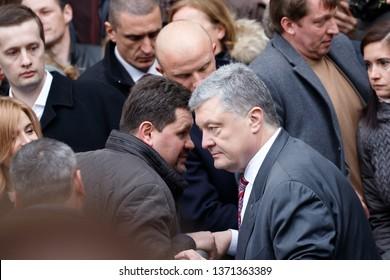 KIEV, UKRAINE - APR 14, 2019: President of Ukraine Petro Poroshenko visits NSC Olimpiysky during presidential elections campaign in Kiev