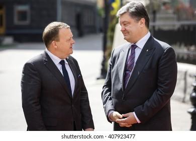 KIEV, UKRAINE - Apr 19, 2016: President of Ukraine Petro Poroshenko and Prime Minister of the Kingdom of Denmark, Lars Lokke Rasmussen, during a meeting in Kiev, Ukraine
