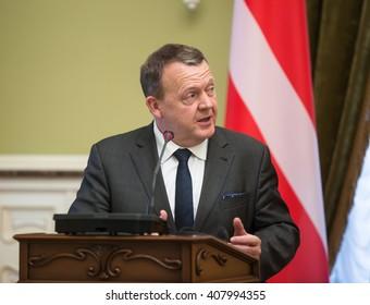 KIEV, UKRAINE - Apr 19, 2016: Prime Minister of the Kingdom of Denmark Lars Lokke Rasmussen during a meeting with President of Ukraine Petro Poroshenko in Kiev, Ukraine