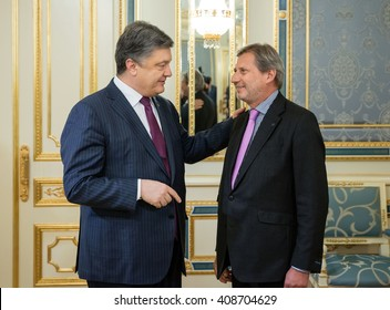KIEV, UKRAINE - Apr 20, 2016: Meeting of European Commissioner for European Neighbourhood Policy and Enlargement Negotiations Johannes Hahn with the President of Ukraine Petro Poroshenko