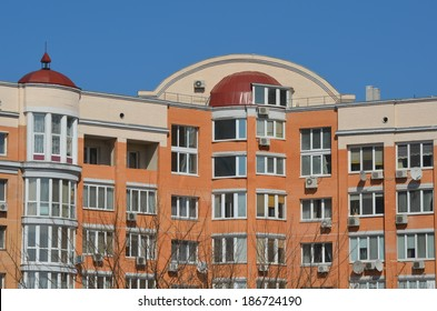 KIEV, UKRAINE -APR 6, 2014: Typical modern residential area. A recently built block of apartments .April 6, 2014 Kiev, Ukraine