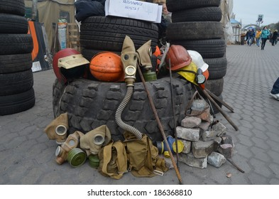 KIEV, UKRAINE - APR 7, 2014: Downtown of Kiev.Camp decoration with military items.Rioters camp..Riot in Kiev and Western Ukraine.April 7, 2014 Kiev, Ukraine