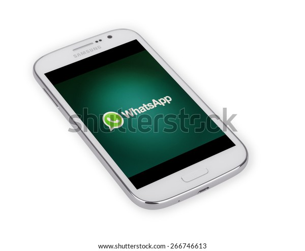 KIEV, UKRAINE - APRIL 02, 2015: Brand Samsung on white background. WhatsApp - proprietary messenger for smartphones. Allows you to send text messages, images, video and audio.  Founded in 2009.