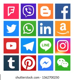 Kiev, Ukraine - April 02, 2019: Collection of popular social media icons, printed on paper: Facebook, Twitter, Instagram, Pinterest, LinkedIn, Tumblr and others