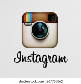 KIEV, UKRAINE - APRIL 03, 2015::Instagram logotype camera icon on the computer screen. Instagram - free application for sharing photos and videos with the elements of a social network.