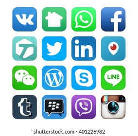 Kiev, Ukraine - APRIL 04, 2016: Popular social media icons such as: Facebook, Twitter, Linkedin, Periscope, Tumblr, Viber, Skype, Instagram, LINE, WeChat, WhatApp and others, printed on white paper.