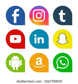 Kiev, Ukraine - April 07, 2019: Set of most popular social media icons: Facebook, Instagram, WhatsApp,Tumblr, YouTube, Linkedin, Snapchat, Android, Amazon printed on paper.