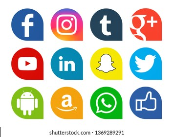 Kiev, Ukraine - April 07, 2019: Set of most popular social media icons: Facebook, Instagram, Tumblr, Google Plus, YouTube, Linkedin, Snapchat, Twitter, Android, Amazon,WhatsApp printed on paper.