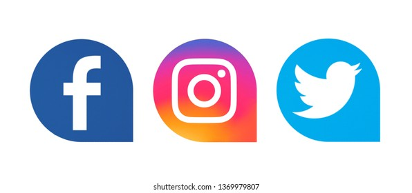 Kiev, Ukraine - April 07, 2019:  Set of popular social media icons printed on white paper: Facebook, Instagram, Twitter.