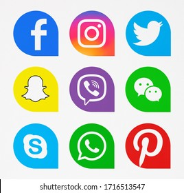 Kiev, Ukraine - April 07, 2019: Set of most popular social media icons: Facebook, Instagram, Twitter, WhatsApp, Snapchat, Viber, Skype, Pinterest, WeChat  printed on paper.