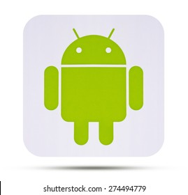 KIEV, UKRAINE - APRIL 08, 2015:  Android logotype printed on paper. Android - the operating system for smart phones, tablet computers, e-books,  game consoles, netbooks, smartbooks, and other devices.