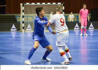 KIEV, UKRAINE - April 08, 2016: Sasa Gojkovic in action during the UEFA Futsal Euro 2018 qualifying game national team Montenegro and Croatia in Kyiv, Ukraine