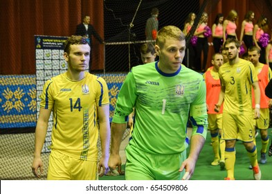 KIEV, UKRAINE - April 08, 2016: Ukraine  Futsal player standing during the UEFA Futsal Euro 2018 qualifying game national team Belgium  and Ukraine in Kyiv, Ukraine