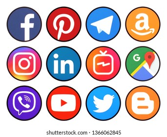 Kiev, Ukraine -  April 09 2019: Set of rounded icons with black rim of social media printed on paper: Pinterest, Twitter, Instagram, Facebook, LinkedIn, Viber, WhatsApp, Youtube, and others