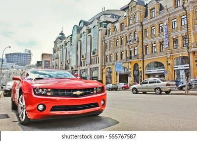 Kiev, Ukraine; April 10, 2014. Chevrolet Camaro in the center of Kiev. Editorial photo.
