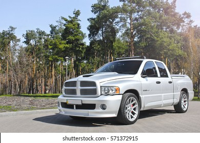 Kiev, Ukraine; April 10, 2015. Dodge Ram SRT-10 on the forest background. Editorial photo.