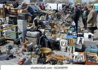 Kiev, Ukraine, April 10, 2016. Swap meet, sale of old things