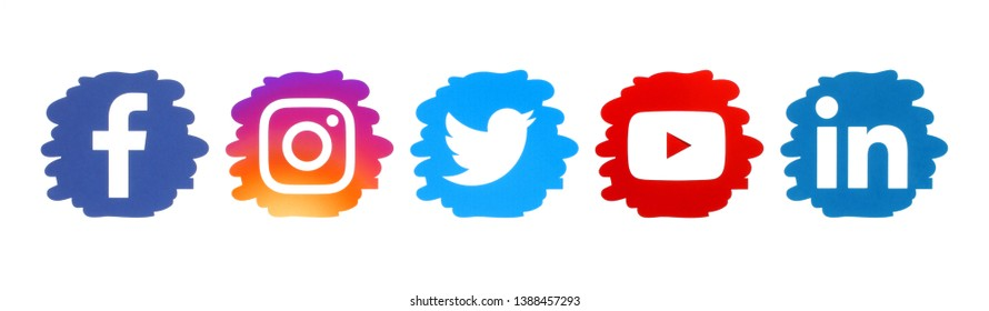 Kiev, Ukraine - April 10, 2019: Set of social media icons in drop form, printed on paper: Facebook, Instagram, Twitter, YouTube, LinkedIn