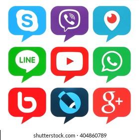 Kiev, Ukraine - April 12, 2016: Collection of popular bubble shape social media logos printed on paper:Skype, Viber, Periscope, Line, Youtube, Livejournal, Google Plus, WhatsApp and Bebo