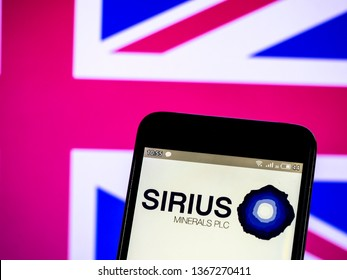 KIEV, UKRAINE - April 12, 2019:  In this photo illustration a Sirius Minerals plc logo seen displayed on a smart phone