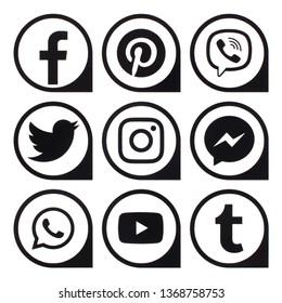 Kiev, Ukraine - April 12, 2019: Popular social media black icons pointers printed on paper: Facebook, Twitter, Instagram, Pinterest, LinkedIn, Viber, Tumblr and others