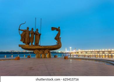 KIEV, UKRAINE - APRIL 13, 2015 Founders Monument Dniper River Kiev Symbol Kiev Ukraine. Prince Kiy Builder Khoriv Sister Libed Sculptor Boroday 1982,Monument to legendary founders of Kiev