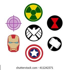 Kiev, Ukraine - April 14, 2016: Set of Avengers (Marvel) logos printed on paper.
