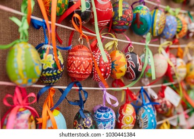 KIEV, UKRAINE - APRIL 15, 2017: The beautiful Easter egg with painted Cross in armenian Style, on April 15 in Kiev