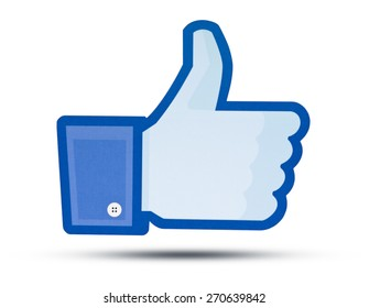 KIEV, UKRAINE - APRIL 16, 2015: Facebook like logo for e-business, web sites, mobile applications, banners, printed on paper and placed on white background. Social network facebook sign on pc sign.