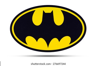 KIEV, UKRAINE - APRIL 16, 2015:  Batman  logo  printed on paper and placed on white background. Batman is one of the most popular and well-known comic book characters and fictional characters.