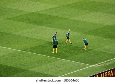 "KIEV, UKRAINE - APRIL 16, 2015: UEFA Europa League match between FC DYNAMO KIEV and FC FIORENTINA  at the National Sports Complex ""Olympic"", Kiev, Ukraine, April 16, 2015. Game time"