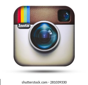 KIEV, UKRAINE - APRIL 16, 2015:Instagram logotype camera printed on paper. Instagram - free application for sharing photos and videos with the elements of a social network.