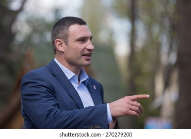 KIEV, UKRAINE - APRIL, 17, 2015: Kyiv Mayor Vitali Klitschko during his visit to Kiev Zoo