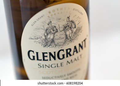 KIEV, UKRAINE - APRIL 17, 2016: Glen Grant Speyside Single Malt Scotch Whisky bottle label closeup. Glen Grant, owned by Gruppo Campari, is the biggest selling single malt Scotch whisky in Italy.