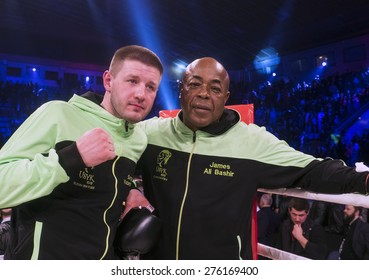 KIEV, UKRAINE - April 18, 2015: Coach of Alexander Usyk -- Ukrainian boxer Alexander Usyk from from Klichko brothers company K2 technical knockout in the eighth round of Russian boxer Andrei Knyazev