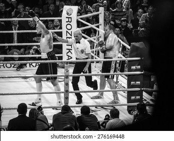 KIEV, UKRAINE - April 18, 2015: Aleksandr Usyk rejoices victory -- Ukrainian boxer Alexander Usyk from Klichko brothers company K2 technical knockout of the Russian boxer defeated Andrei Knyazev