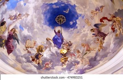 KIEV, UKRAINE - APRIL 18, 2015 Jesus Angels Painting Ceiling Interior Church Saint Nicholas Askold's Grave Kiev Ukraine. Ukrainian Greek Catholic Church created 1810.